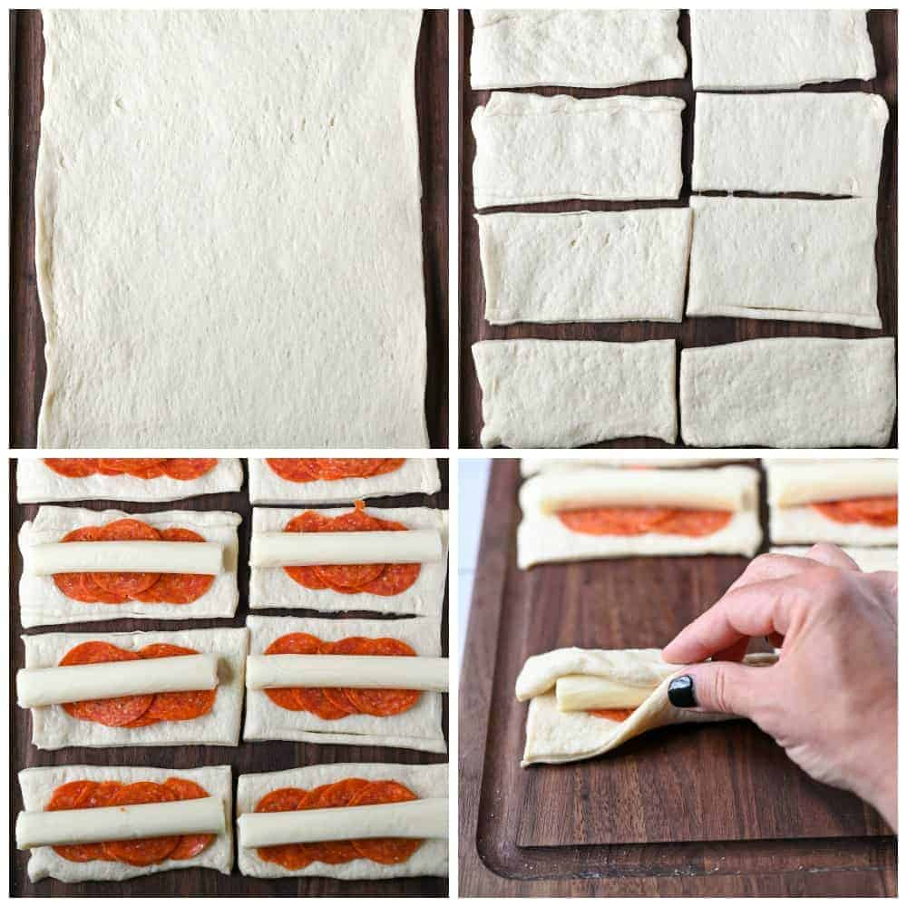 Step by step guide. Step 1, rolling out the pizza dough. Step two, cutting the dough into 8 equal squares. Step three, Placing the pepperoni and cheese sticks onto each piece. Step four rolling and pinching the dough around the outside.