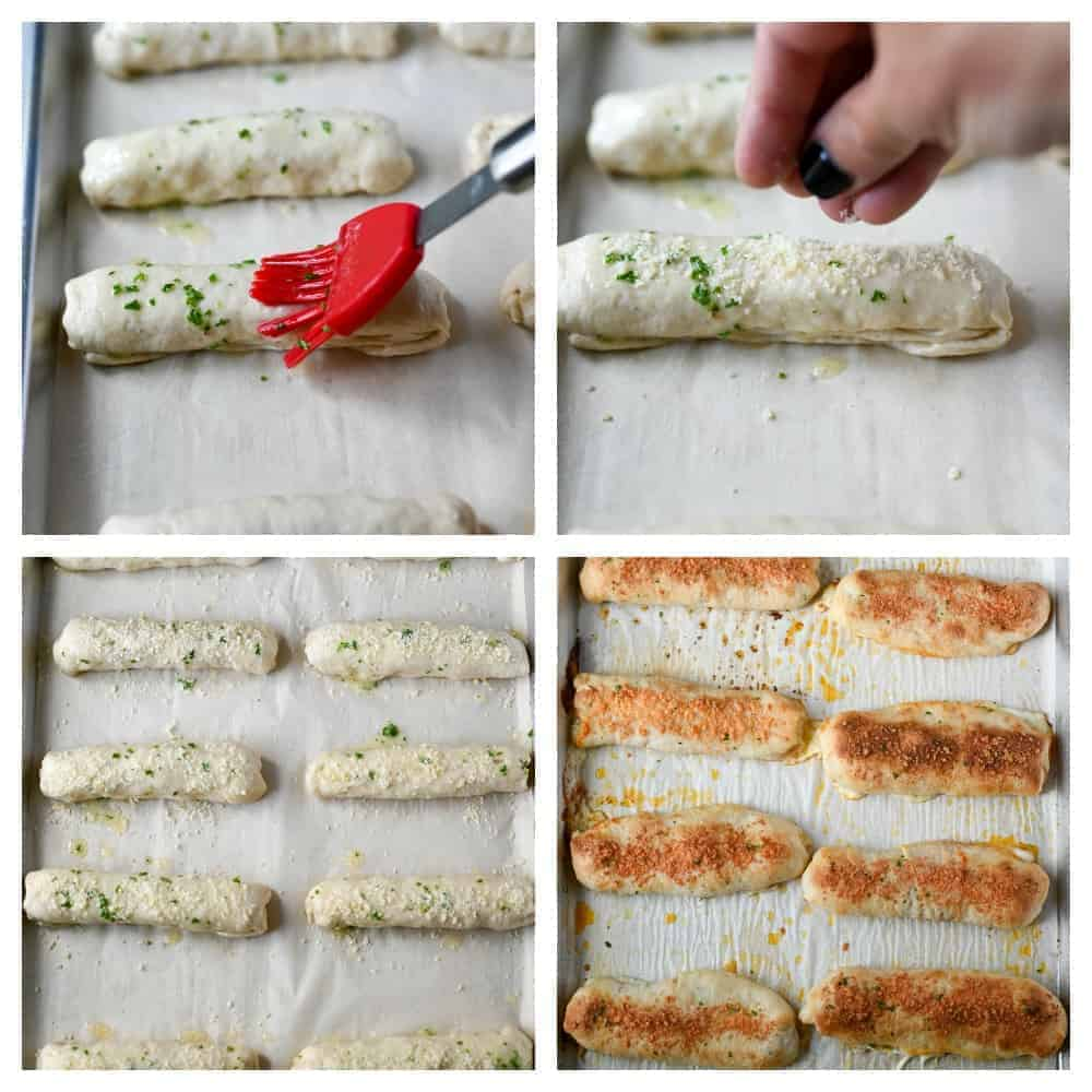 Four final process shots. Stffed pepperoni pizza sticks rolldup and meled garlic butter being brushed on top. Grated parmesan cheese being sprinkled on top of each stick. all eight sticks layed out on a baking sheet with parchment paper. All eight pizza sticks laid out on a baking sheet with parchment paper after baking.