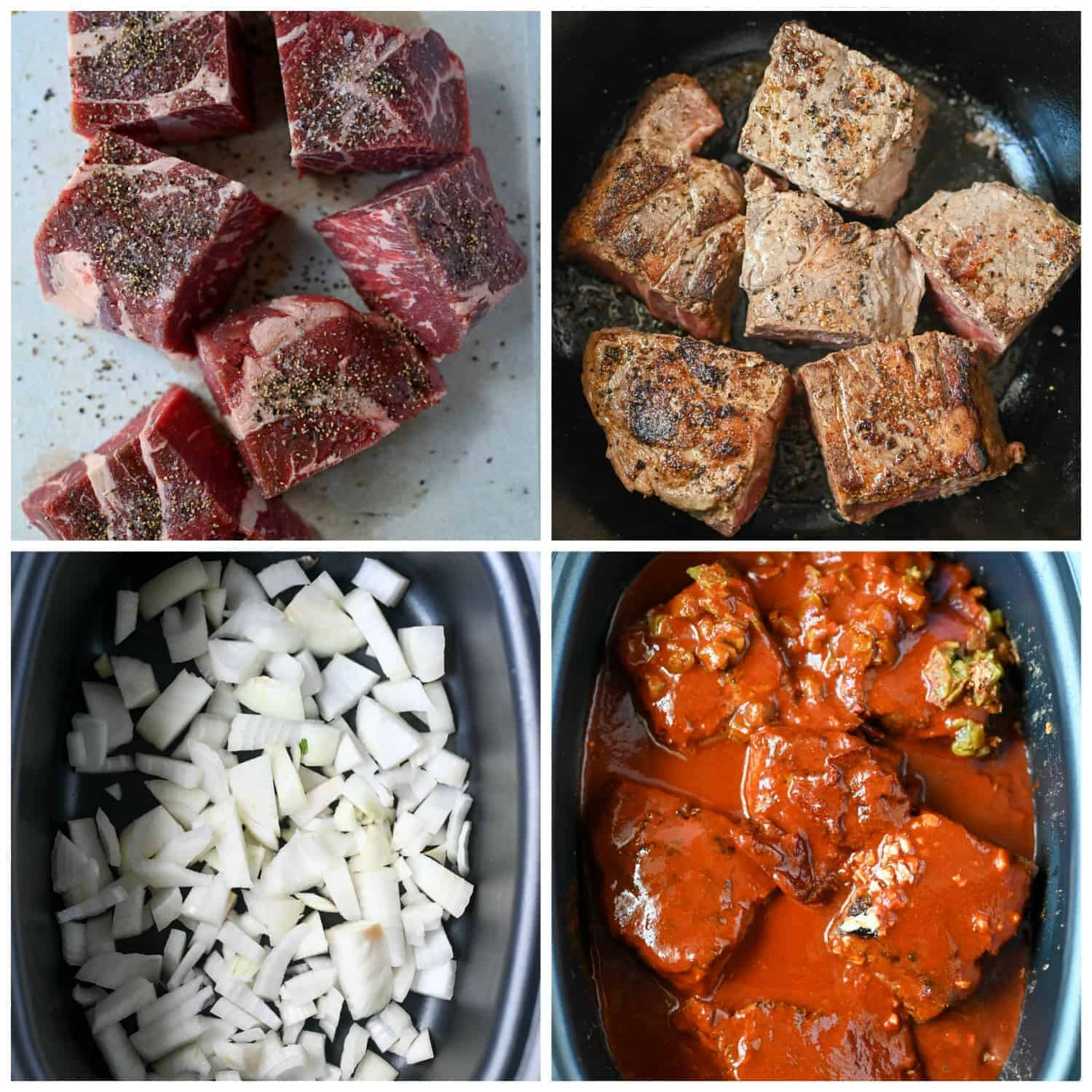 Four process shots. First one, chunks of meat on a cutting board with salt and pepper on top. Second one, beef chunks browned in a large cast iron pot. Third one, chopped onions in the bottom of the slow cooker. Fourth one, the browned meat chunks, chipotle, garlic, beef boullin, taco seasoning and enchilada sauce poured on top.