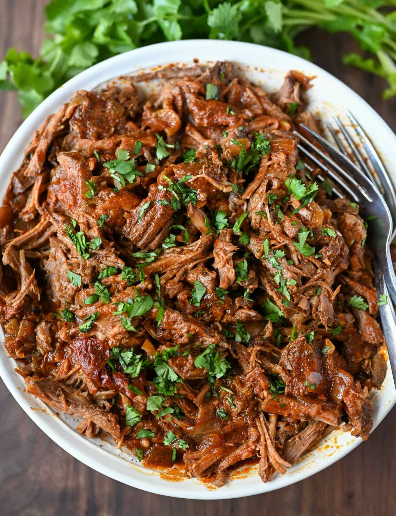 Shredded beef in a white bowl with cilantro sprinkled on top.