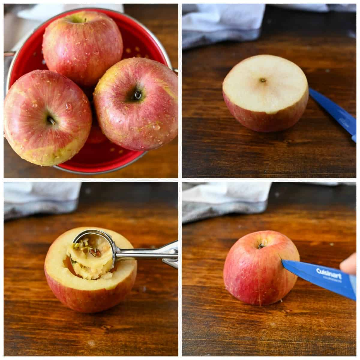 Four process photos. First one, four apples in a colander. Second one, one apple with the top cut off. Second one, the core being removed from the center. Fourth one, A small blue knife citting slices in the sides of the apple.