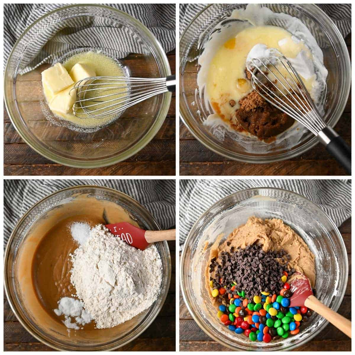 Four process photos. First one, melted butter in a bowl. Secodn one, sugar and brown sugar added to the bowl. Third one, flour mixture being added to the bowl. Chocolate chips and M&M's poured into the batter.