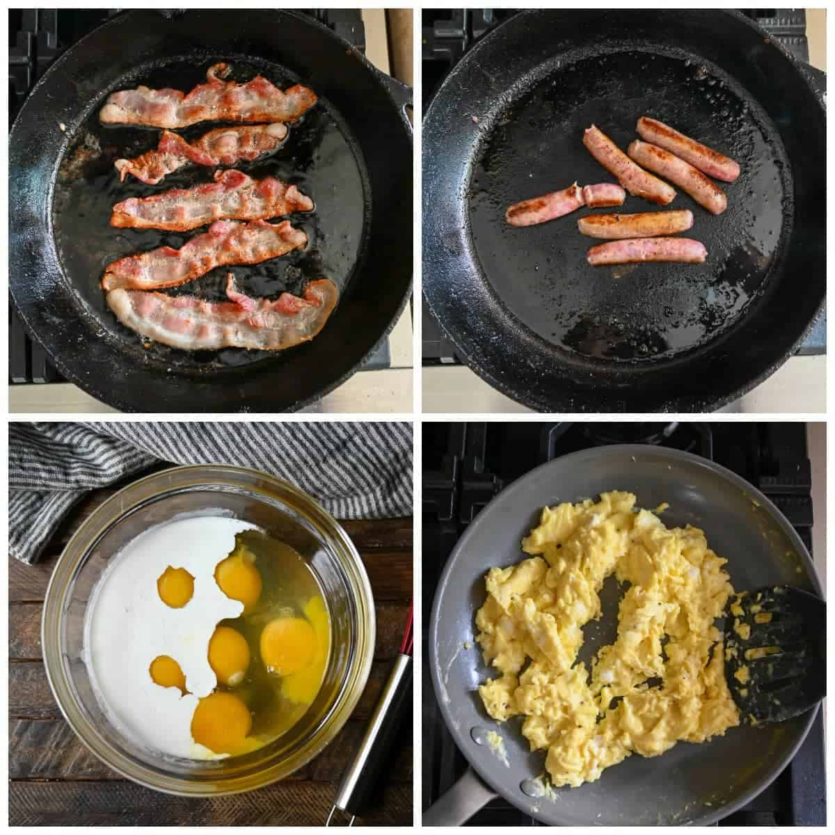 Four process shots. First one, bacon being cooked in a skillet. second one, sausage being cooked in a skillet. Third one, eggs and cream in a clear bowl before being whisked together. Fourth one, Eggs have been scrambled in a skillet.