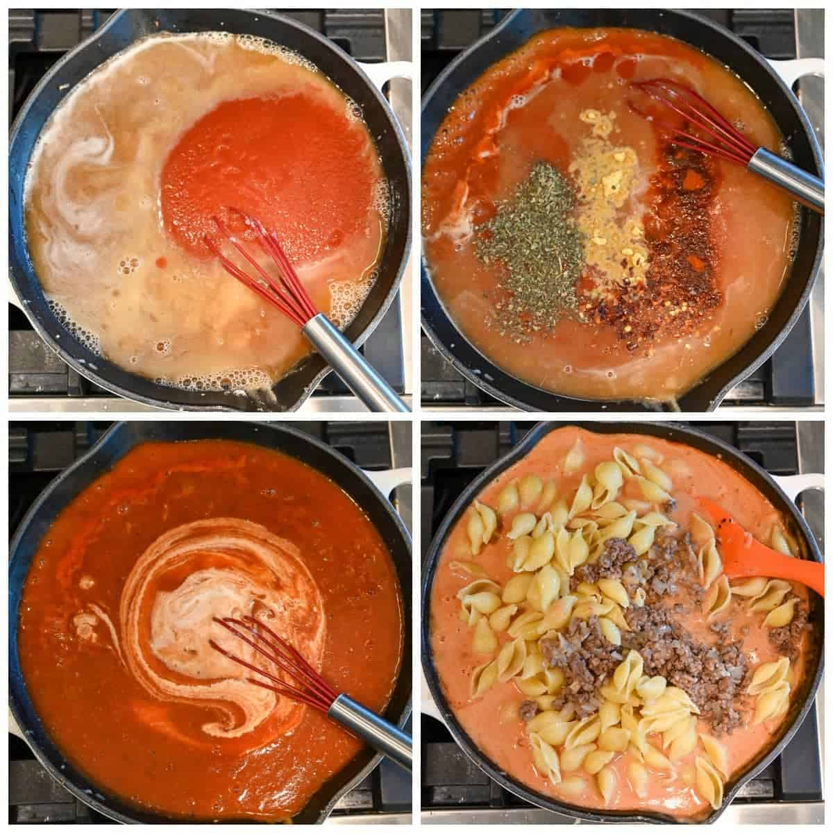 Four process photos. First one, tomato sauce is whisked in. The second one, Italian seasoning, paprika, dry mustard and red pepper being added. Third one, heavr cream poured in. Fourth one, cooked pasta and ground beef mixed into the sauce.