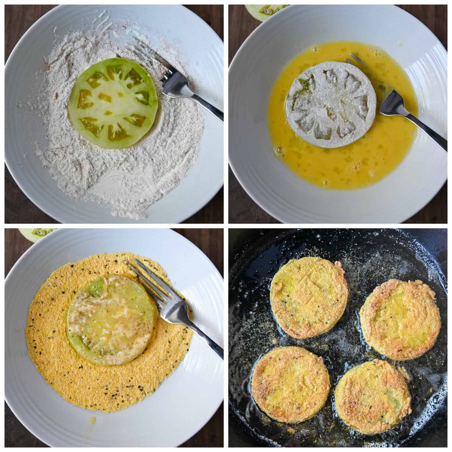 Four process step photos. First one, green tomato slice placed in a white bowl with flour. Secone one, flour dipped tomato jnow placed in a bowl of whicked eggs. Third one, egg dipped tomato now placed in a bowl with cornmeal. Fourth one, coated tomatoes placed in ahot skillet to fry.