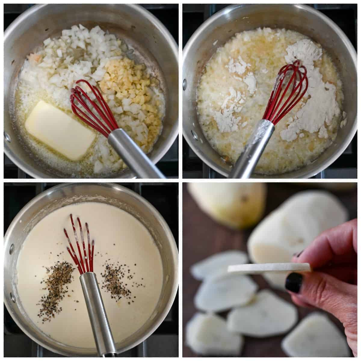 Four process photos. First one, butter, onions, and garlic in a saucepan with a whisk. Second one, all purpose flour added in. Third one, cream, salt and pepper whicked in. Fourth one, potatoes that have been sliced to a 1/8 inch thickness up and one slice being help up.