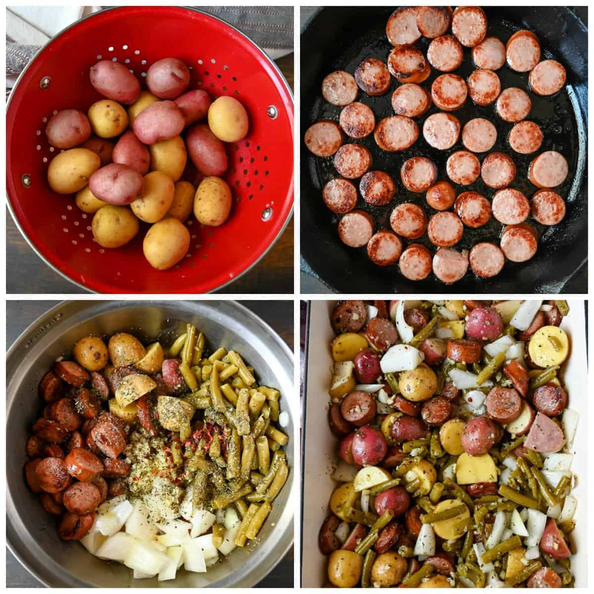 Four step by step photos. First one, baby creamer potatoes in a red colander. Second one, sliced sausages being browned in a cast iron skillet. Third one, all the ingredients being tossed together in a metal mixing bowl. Fourth one, All the ingredients in a 9x13 baking dish and ready to go in the oven.