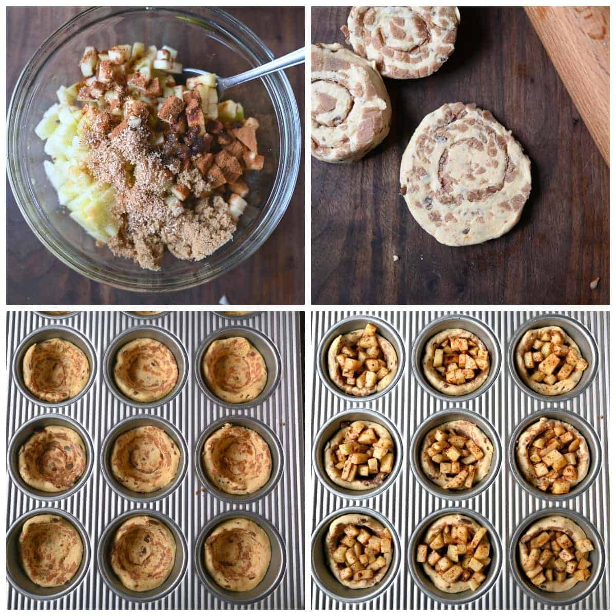 Four process photos. First one, apples and spices being mixed into a clear bowl. Second one, cinnamon rolls being rolled out to flatten. Third one, cinnamon rolls placed in muffin tins. Fourth one, Apples filled into the cinnamon rolls.