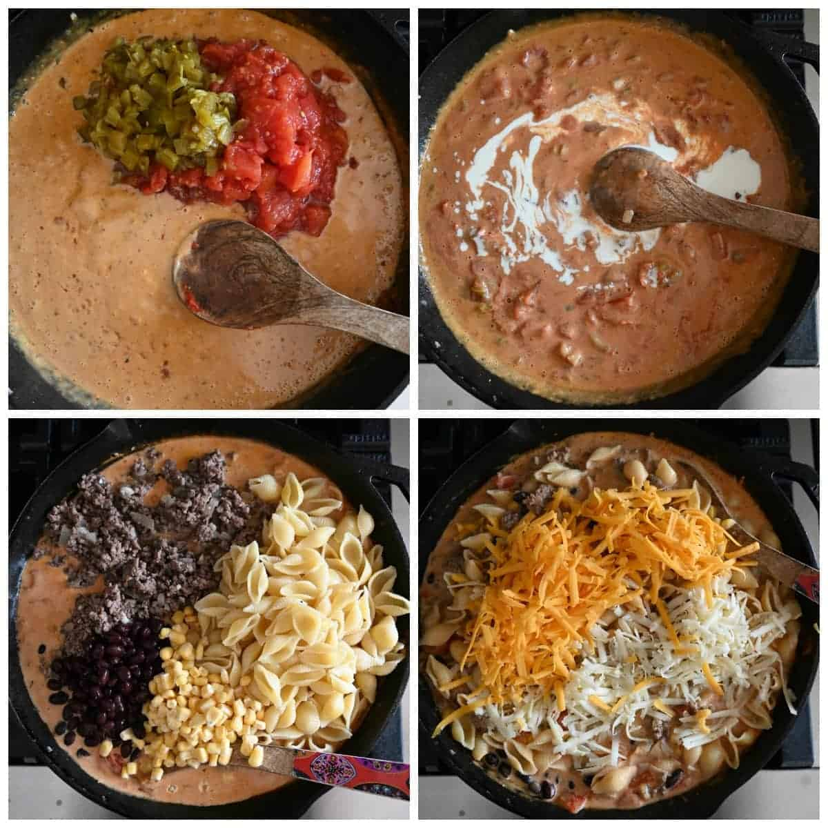 Four process photos. First one, green chilis and diced tomatoes added to the skillet. Third one, heavy whipping cream whisked in to the mixture. Third one, cooked pasta, browned ground beef and cilantro being mixed in. Fourth one, cheese being mixed in.