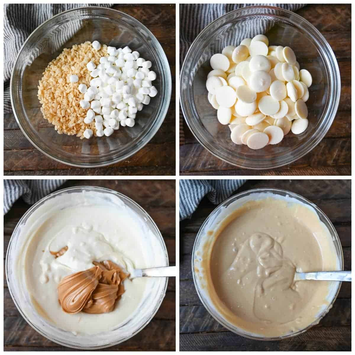 four process photos. First one, rice krispies and marshmallows in a bowl. Second one, white chocolate in a bowl. Third one, white chocolate that was melted and peanut butter being mixed in. Fourth one, White chocolate and peanut butter all mixed together and melted.