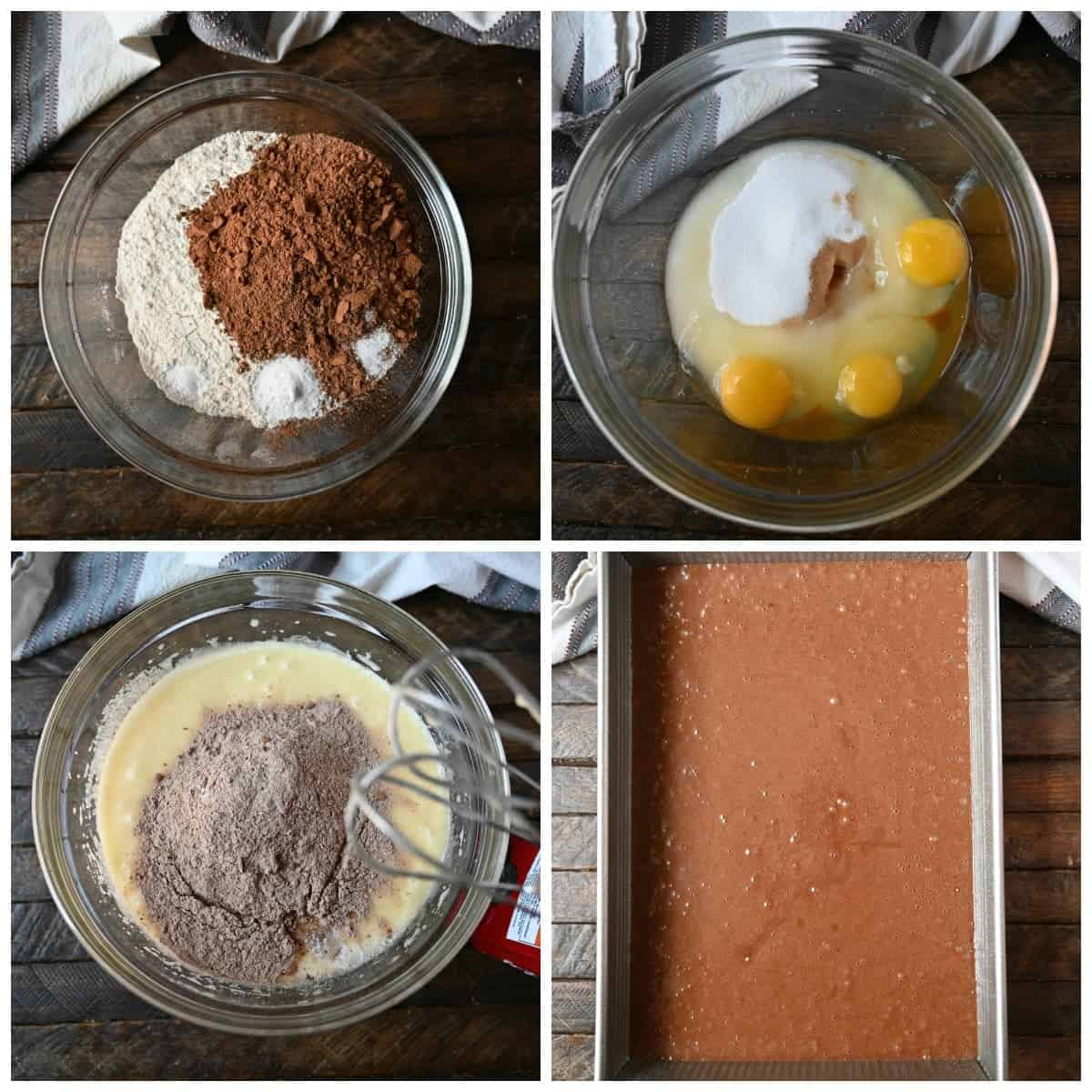 Four process photos. First one, dry ingredients in a medium bowl. Second one, wet ingredients added to a bowl and mixed. Third one, dry ingredients added to wet ingredients and mixed together with a hand mixer. Fourth one, cake batter poured in a 9x13 metal cake pan.