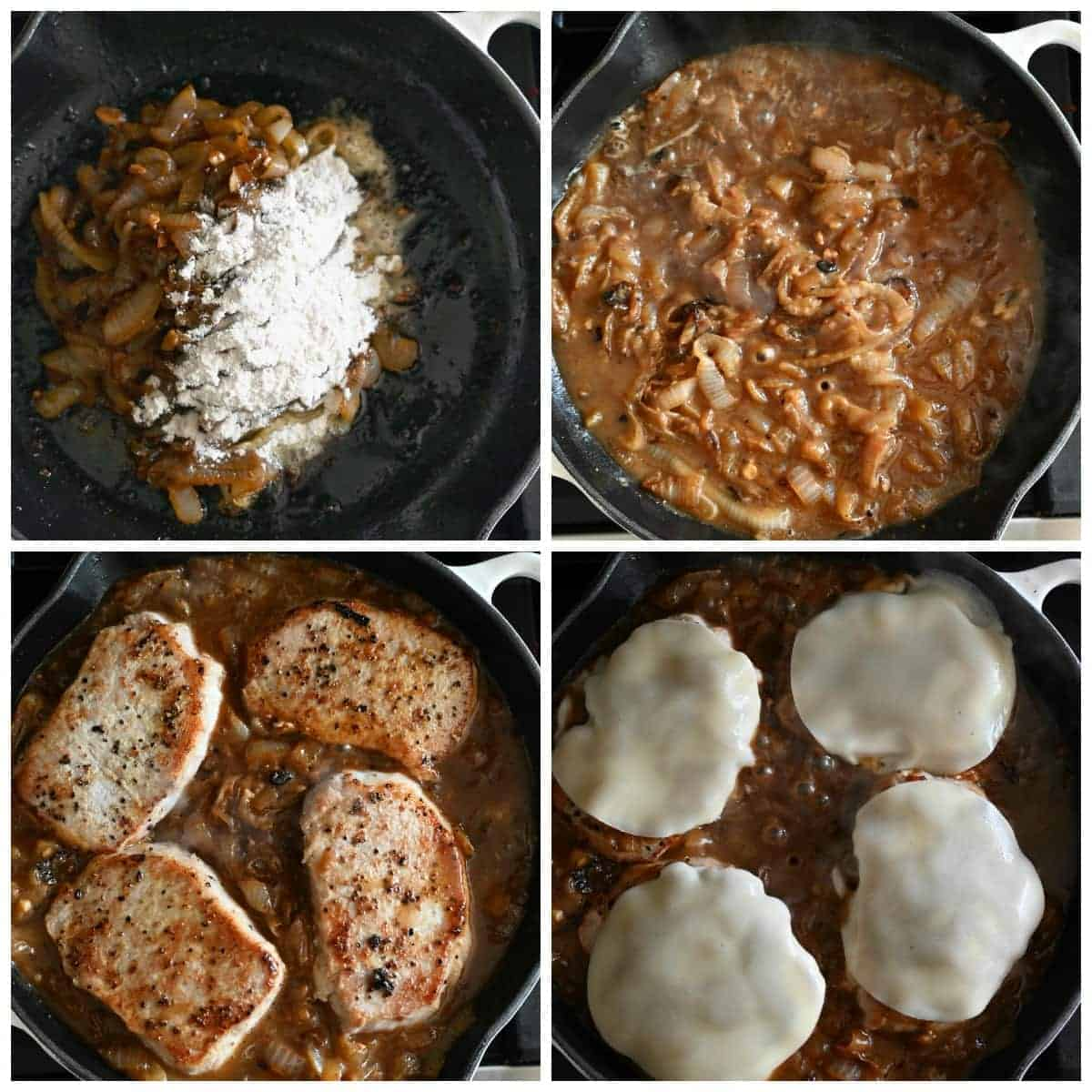 Four process photos. First one, caramelized onions in a cast iron pan with flour added. Second one, beef broth that has been whisked in to form the gravy. Third one, pork chops that have been added back into the gravy to finish cooking. Fourth one, slices of cheese that have been placed on top to melt before serving.