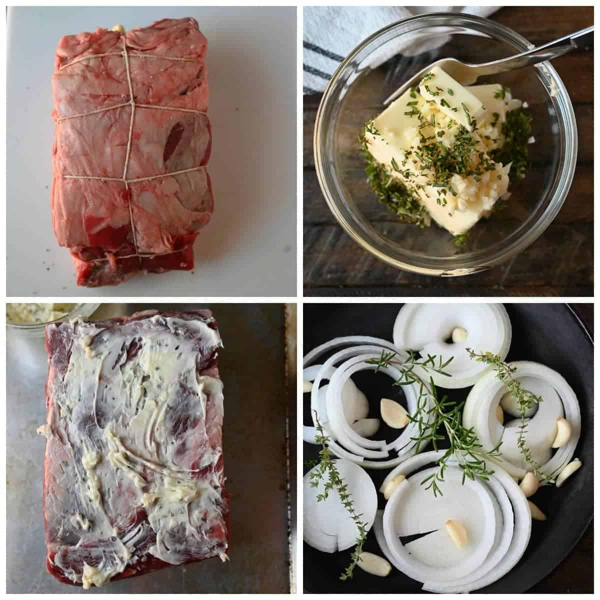 Four process shots. First one, rib eye roast tied up with twine to hole it together while roasting. Second one, butter, herbs and garlic in a bowl to be mixed and put on the roast. Third one, butter mixture spread on top of the roast. Fourth one, thick onion slices with garlic cloves, thyme, and rosemary in a cast iron skillet.
