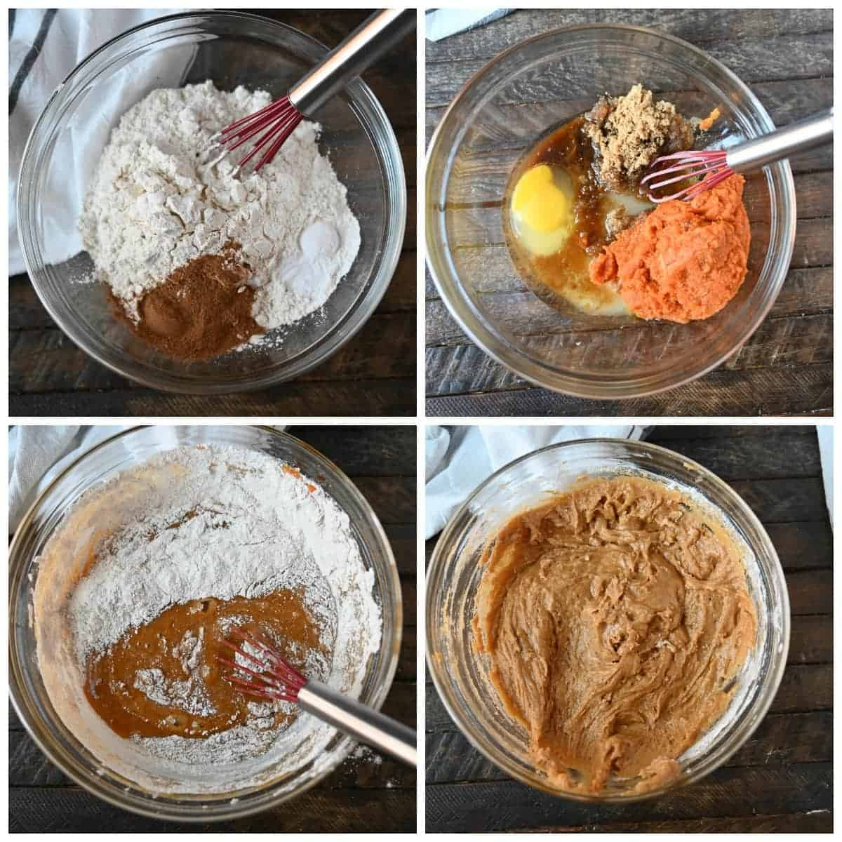 Four process photos. First one, all the dry ingredients sombined in a bowl. Second ob=ne, all the wet ingredients combined in a bowl. Third one, wet ingredients mixed with the dry. Fourth one, All the ingredients mixed and combined.