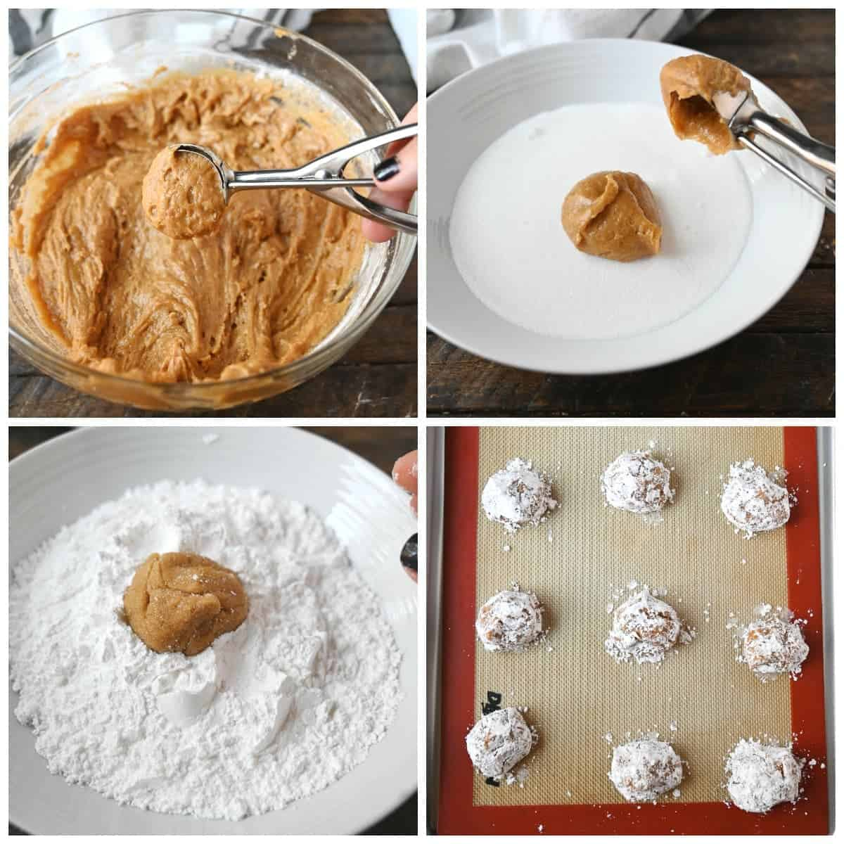 Four process photos. First one, cookie batter being picked up in a cookie scoop. Second one, cookie ball rolled in granulated sugar. Third one,cookie ball being rolled in powdered sugar. Fourth one, cookie balls placed on a baking sheet.