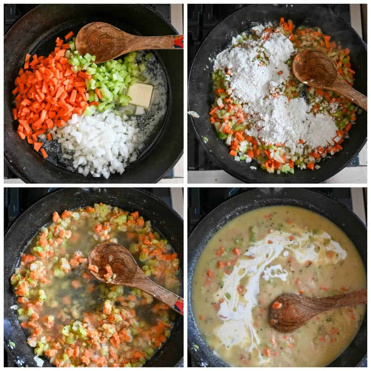 Four precess shots. First one, onion, carrots, celery and butter in a cast iron skillet with a wooden spoon. Second one, couple tablespoon of all purpose flour on top. Third one, chicken stock that was poured in. Fourth one, heavy whipping cream that was poured in.