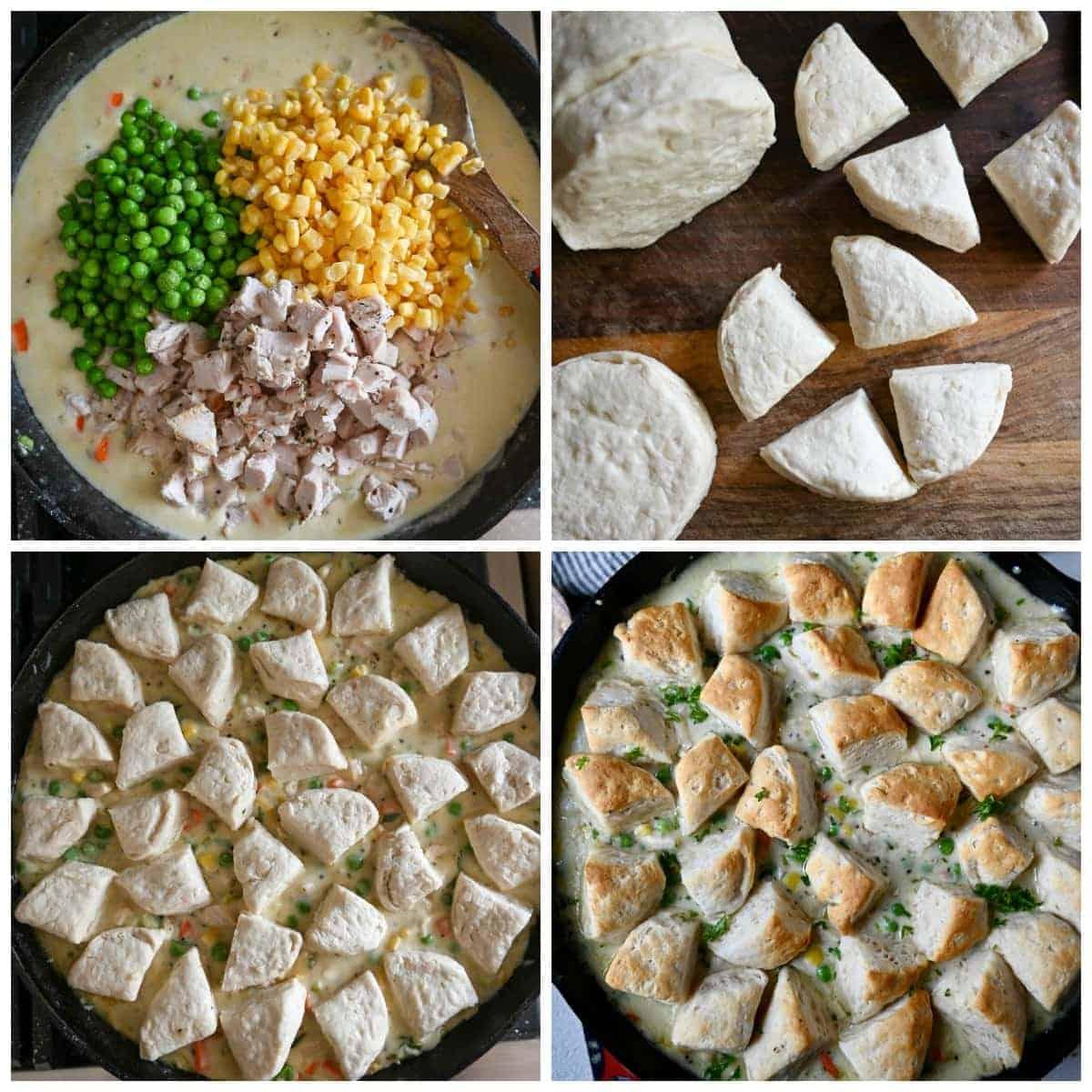Patru planuri de proces.  Primul, mazăre cubulețe, porumb și pui amestecat cu sos.  În al doilea rând, fursecurile tăiate în sferturi.  În al treilea rând, bucăți de biscuiți dispuse deasupra amestecului din tigaie.  În al patrulea rând, proaspăt din cuptor, maro și spumant.