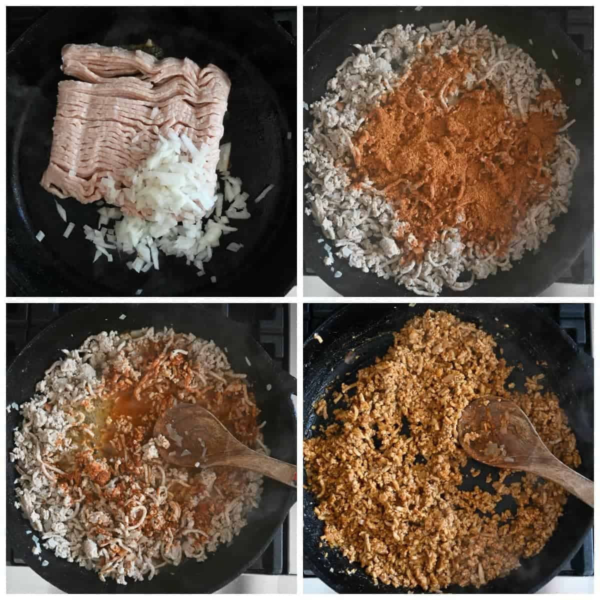 Four process photos. First one, ground chicken and diced onions placed into a cast iron pan. Second one, garlic and taco seasoning on top of the browned ground chicken. Third one, seasoning being mixed in. Fourth one, seasoning and salsa all mixed inot the ground chicken.