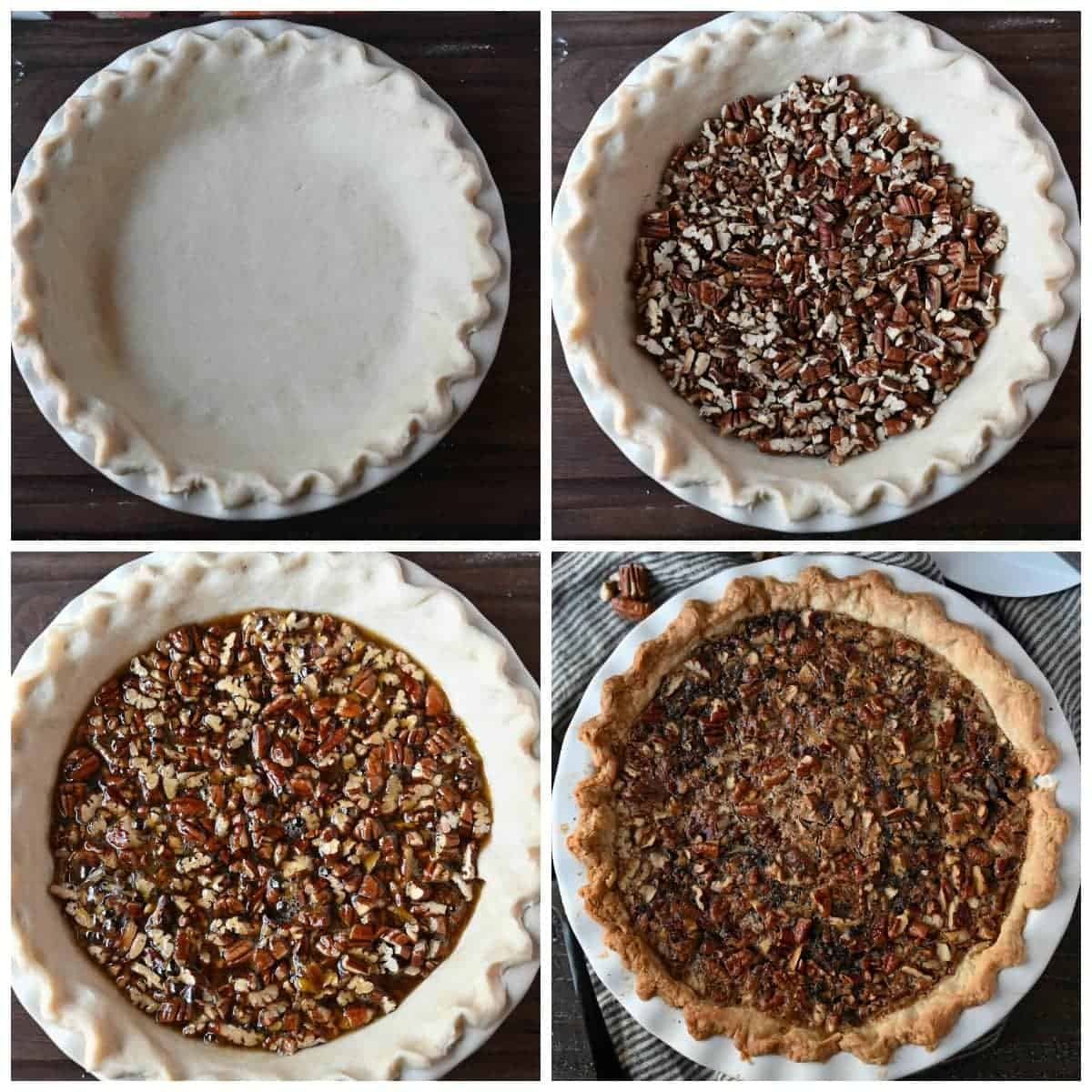 Dough placed in a pie dish and edges pinched. Second one, roasted pecans placed into the bottom. Third one, wet mixture poured on top of the pecans. Fourth one, freshly baked pecan pie out of the oven.