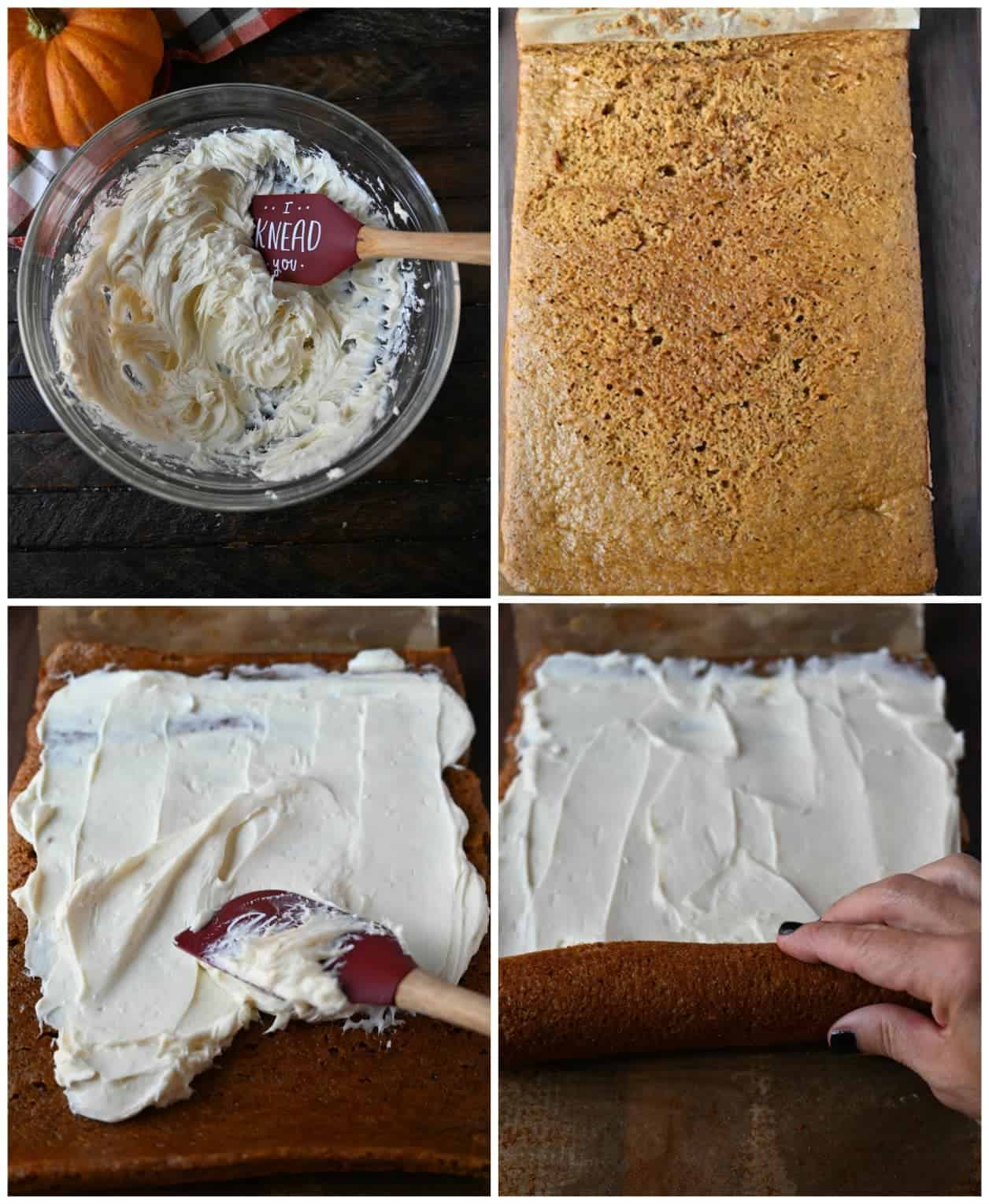 Four process photos, first onecream cheese filling all mixed up and creamy in a bowl with a red spatula. Second one, pumpkin cake that has been unrolled and laying flat. Third one, cream cheese filling being spread on top of the cake with a red spatula. Fourth one, cake being rolled back up without the parchment paper.