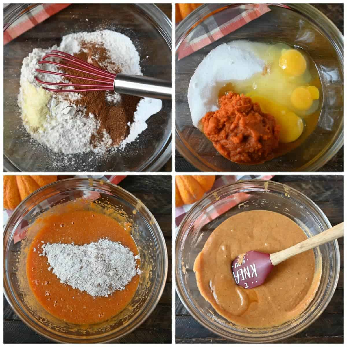 Four process photos. First one, dry ingredients in a bowl with a red whisk. Second one, wet ingredients in a bowl ready to be mixed. Dry ingredients mixed into the wet ingredients. Batter all mixed in a bowl with a red spatula.