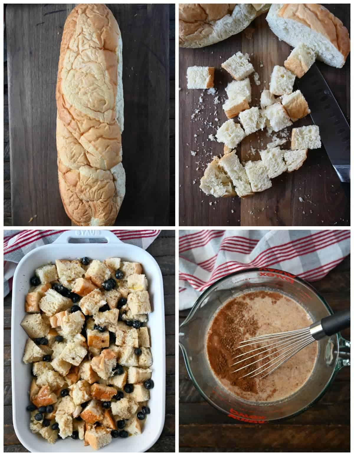 Four process photos. First one, a loaf of french bread on a cutting board. Second one, french bread cut into cubes. Third one, cubed french bread with fresh blueberries mixed in. Fourth one, wet ingredients all mixed into a large pyrex mixing bowl.