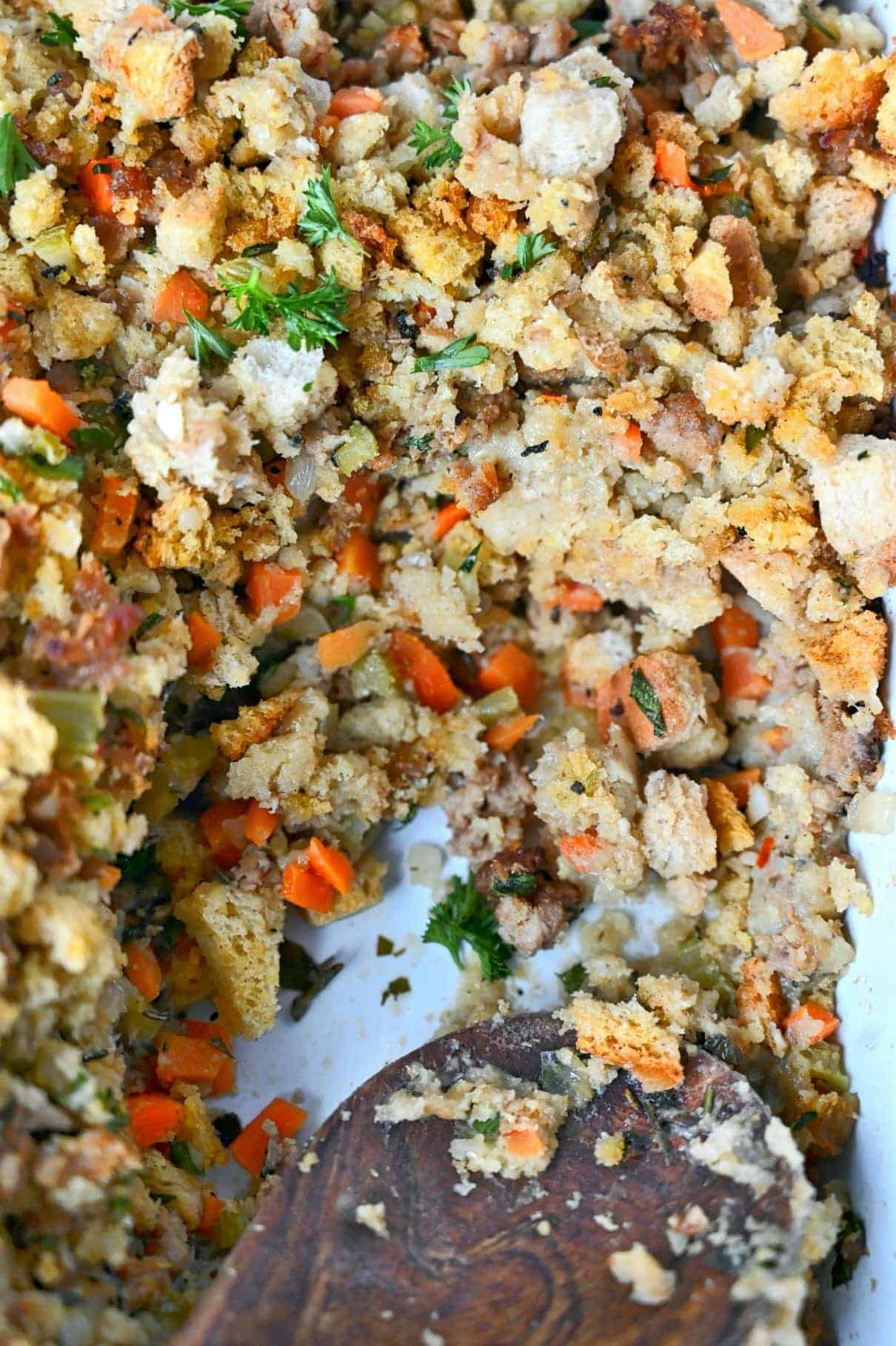 Close up photo of cornbread sausage dressing.
