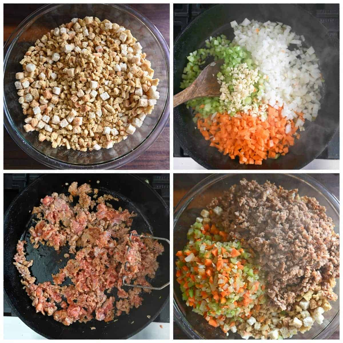 Four process photos. First one, cronbread cubes in a bowl. Second one, onions, carrots, celery and garlic sauteed in a pan. Third one, Italian sausage sauteed in a pan. Fourth one, cooked sausage and veggies added to a bowl.