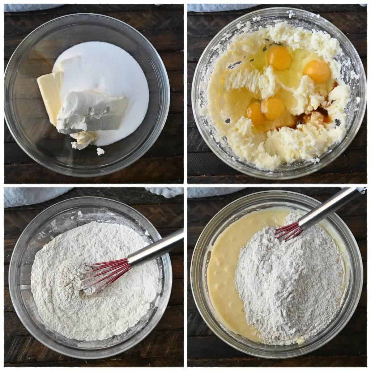 Four process photoss. First one, sugar and butter geting ready to be mixed. Second one eggs added into the mix. Third one, dry ingredients being whisked in a bowl. Fourth one, wet ingredients and dry ingredients mixed together.