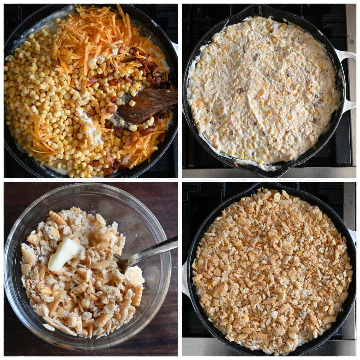 Four process photos. First one, corn, cheese and bacon aded into the creamy mixture. Second one, everything mixed together and ready for the topping. Third one, crushed ritz crackers in a small bowl with melted butter. Fourth one, crushed crackers spread over the top of the cheesy corn mixture.