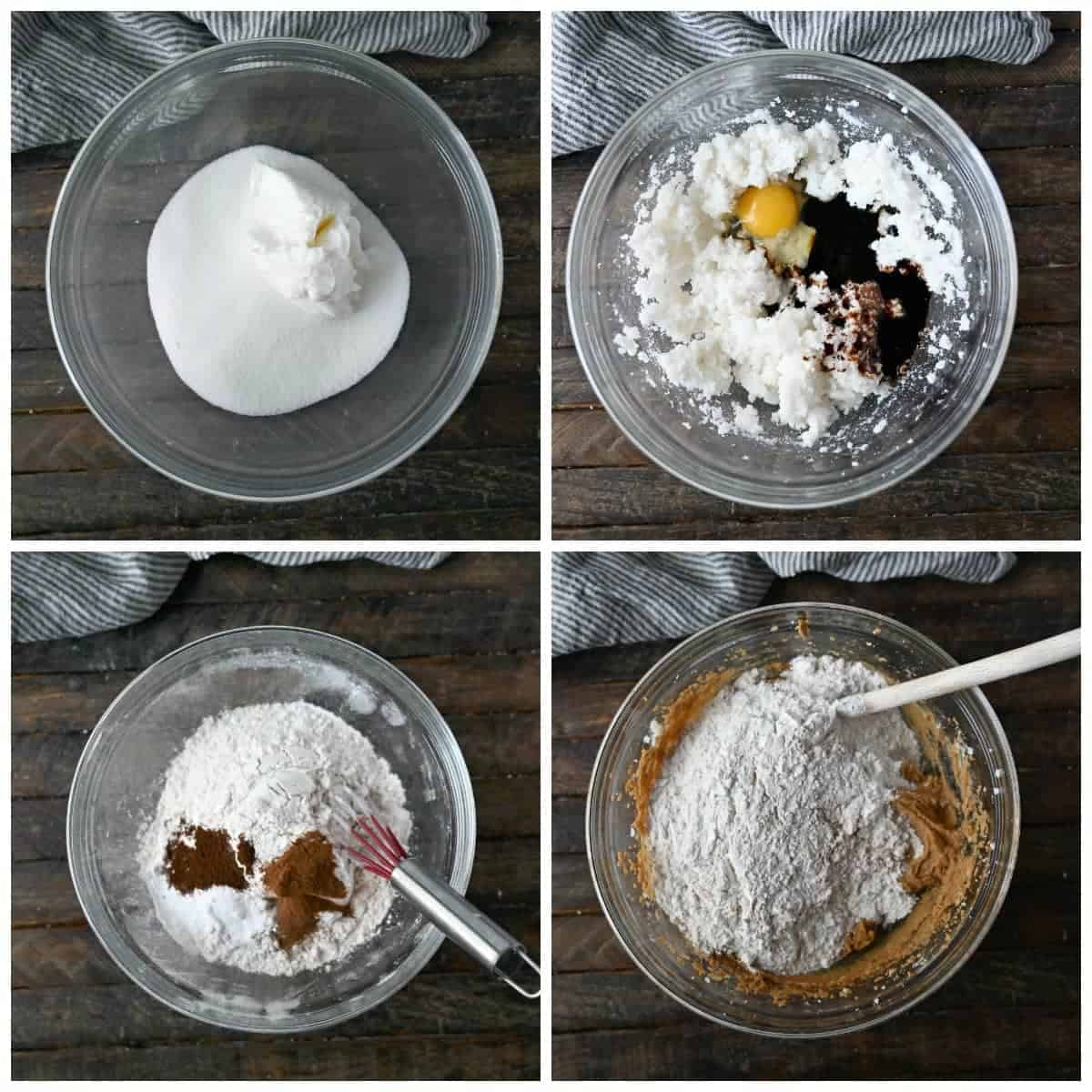 Four process photos. First one, sugar and shortening in a clear bowl. Second one, eggs and mollasses added in. Third one, dry ingredients in a clear bowl. Fourth one, dry ingredients being mixed into the wet ingredients.