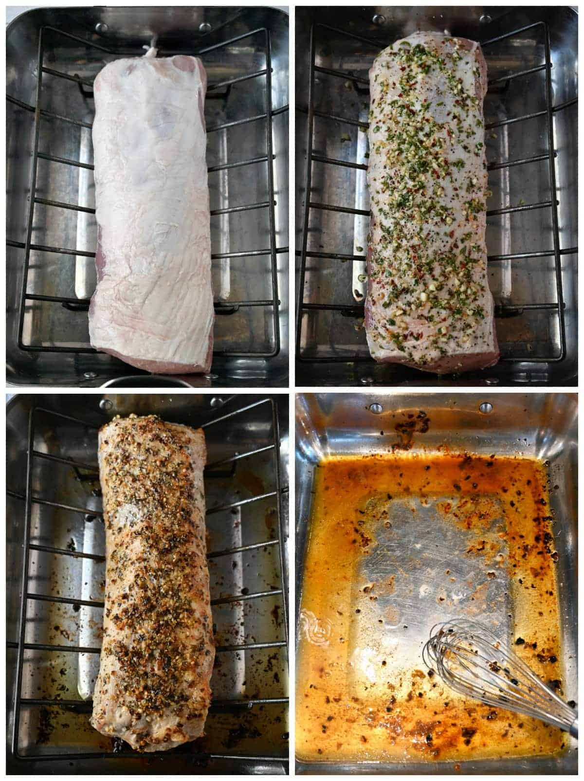 Four process photos. First one, raw porl loin roast on a rack in a baking pan. Second one, pork loin on a rach in a roasting pan with her mixture rubbed all over. Fourth one, pork loin on a rack in a roasting pan dine and out of the oven. Fourth one, Pork loin and rack removed from roasting pan. Roasting pan is has drippings from the roast left in the pan.