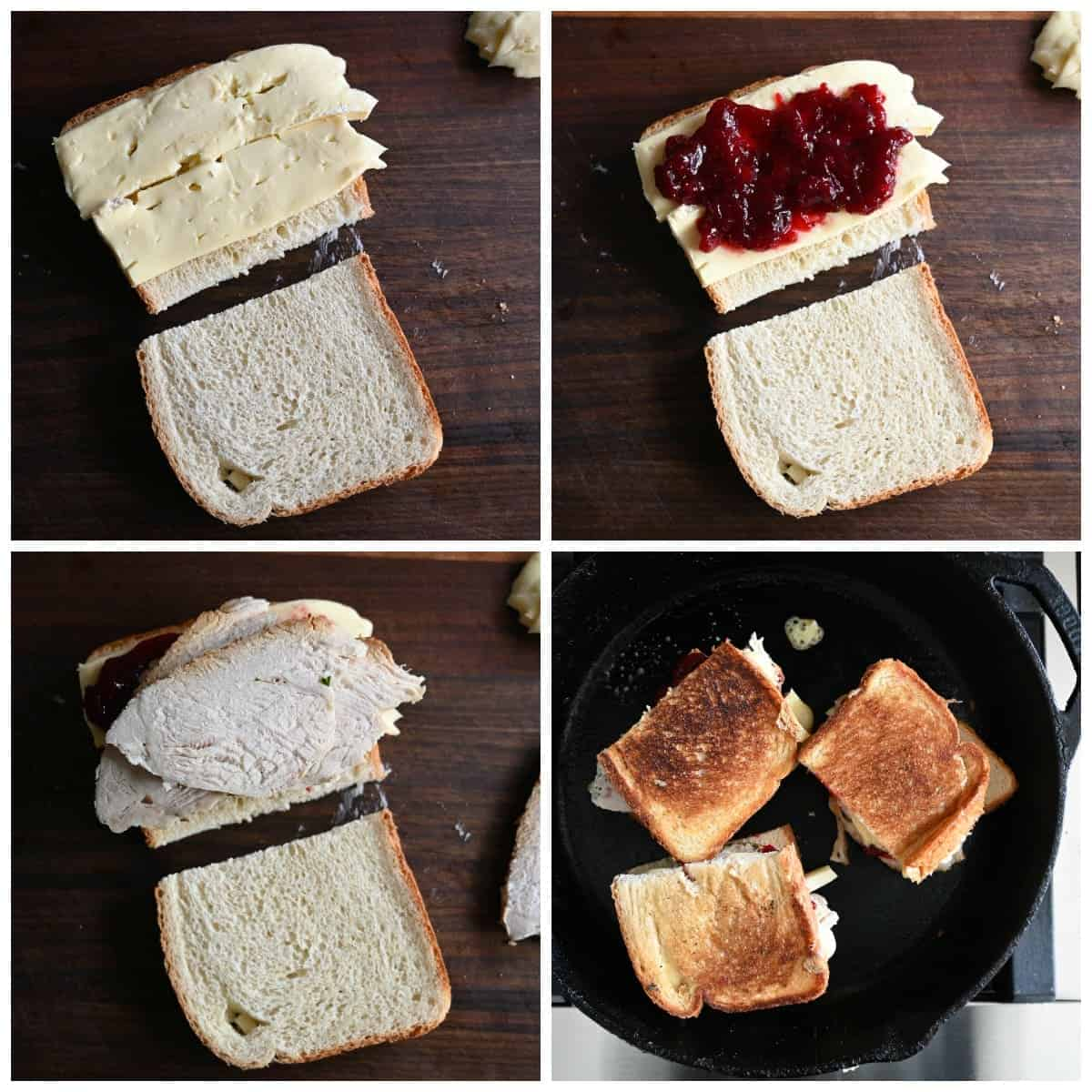 Four process photos, First one, two pieces of bread one piece with Brie cheese on top. Second one, cranberry sauce on top of the brie cheese. Third one, slices of turkey on top of the cranberry sauce. Fourth one, three sandwiches golden bron and melted in a skillet.