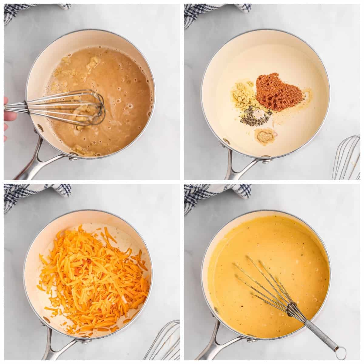 Four process photos. First one, flour beer and butter whisked together in a saucepan, Second one, spice mixture added in. Third one, cheddar cheese added in. Fourth one, cheese sauce whisked together.
