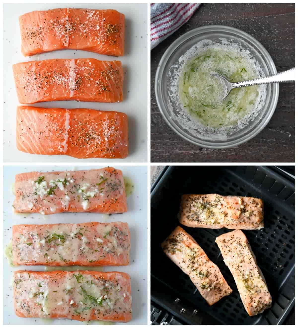 Four process photos. First one, three raw salmon filets on a cutting board. Second one, lemon butter sauce in a small bowl with a spoon. Thirn one, lemon butter sauce brushed on rew salmon filets. Fourth one, salmon filets cooked in a air fryer basket.