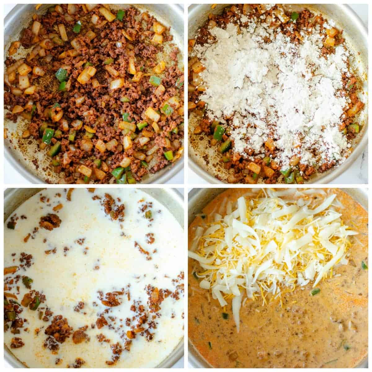 Four process photos. First one, chorizo, onions and jalapenos sauteed in a skillet. Second one, flour sprinkled on top. Third one, milk poured in. Fourth one, cheese melted in.