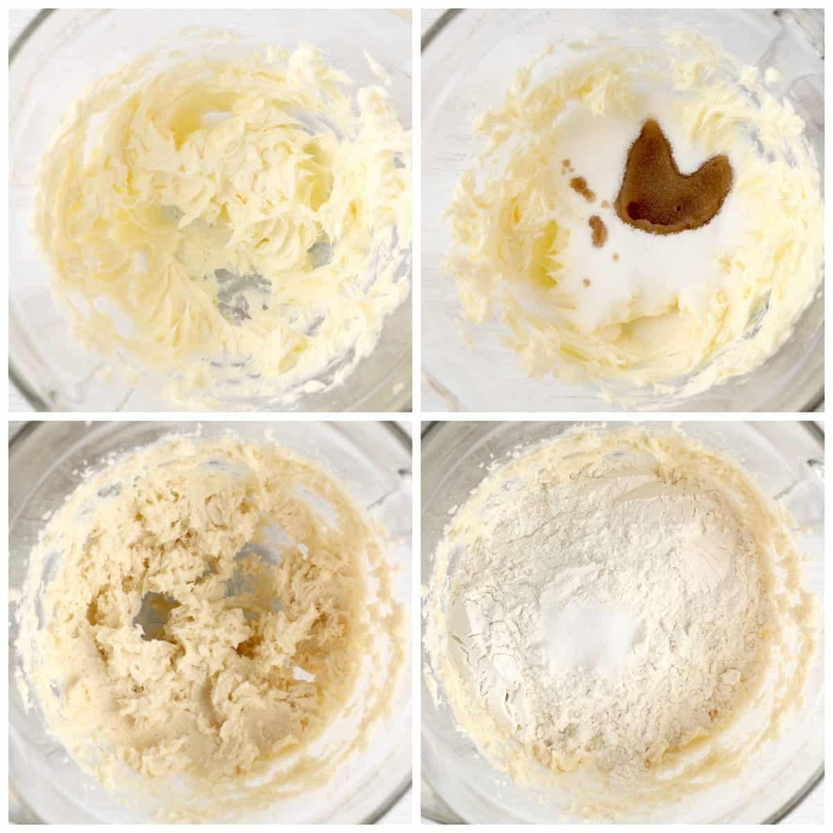 Four process photos. First one, butter whipped in a mixing bowl. Second one, wet ingredients added to whipped butter. Third one, Wet ingredients whipped together. Fourth one, dry ingredients put on top.