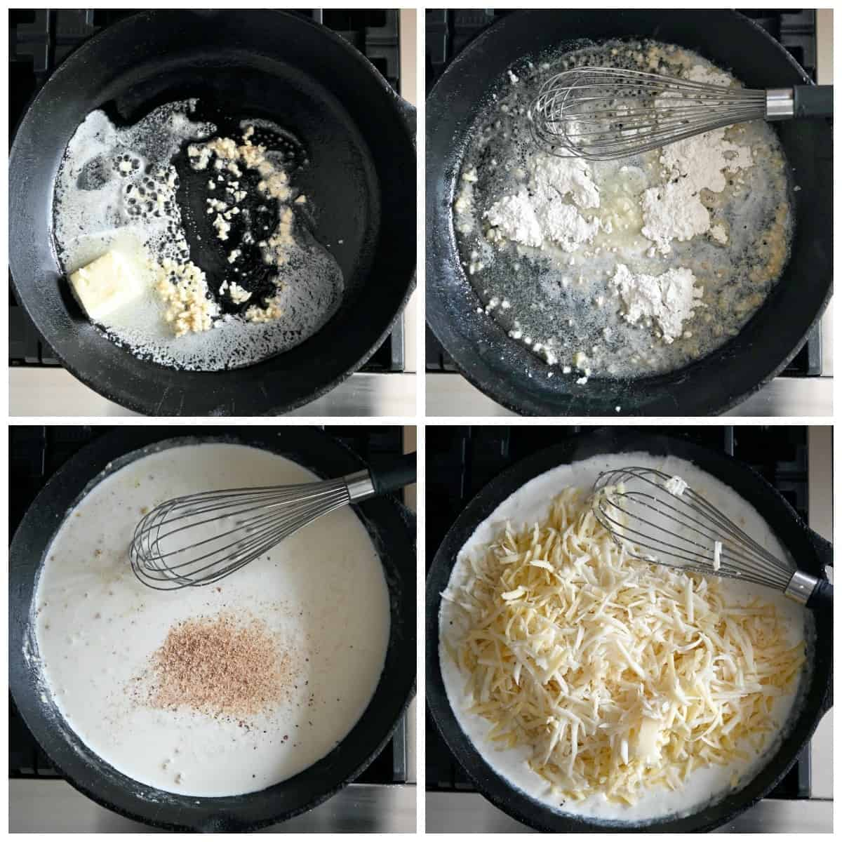 Four process photos. First one, butter and garlic being melted in a cast iron skillet. Second one, flour added to the ,melted butter. Third one, half n half and spices added to the skillet. Fourth one, shredded cheese added into the mixture.