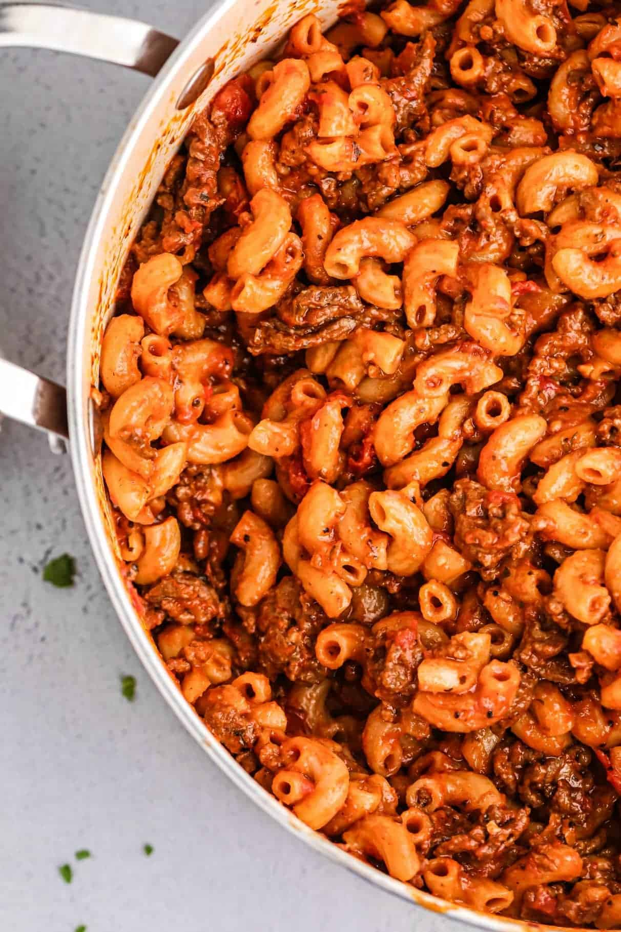 One pot goulash in a large pot.