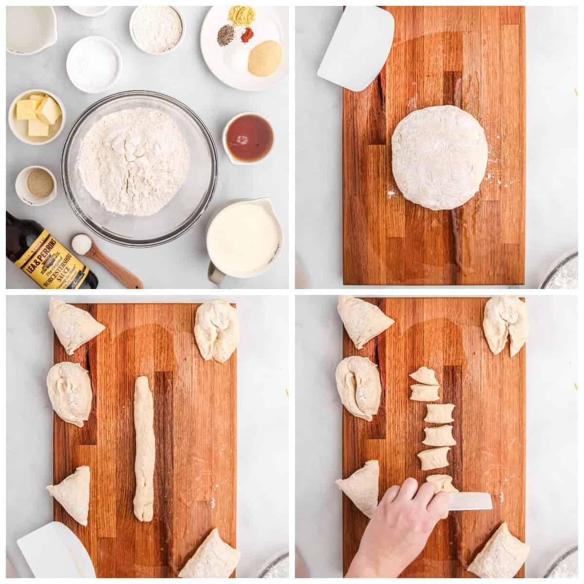 Four process photos. First one, a photo of all the dry and wet ingredients. Second one, dough ball placed on a cutting board. Third one, pretzel dough rolled into a 12 inch strand. Fourth one, strand cut into bite size pieces.