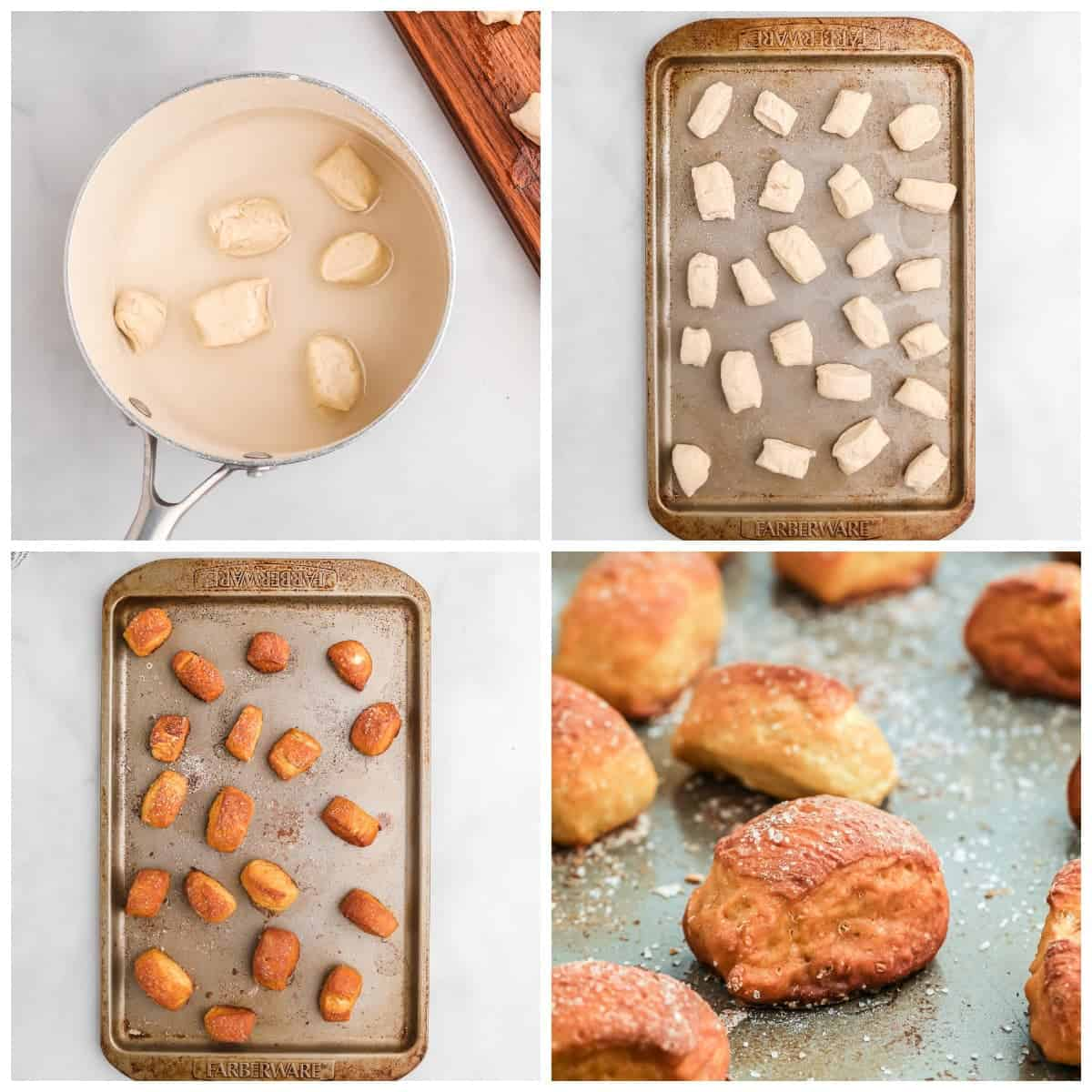 Four process photos. First one, pretzel bites soaking in baking soda water. Second one, pretzel bites placed on a baking sheet. Third one, pretzel bites baked and out of the oven. Fourth one, close up photo of pretzel bites on a baking sheet.