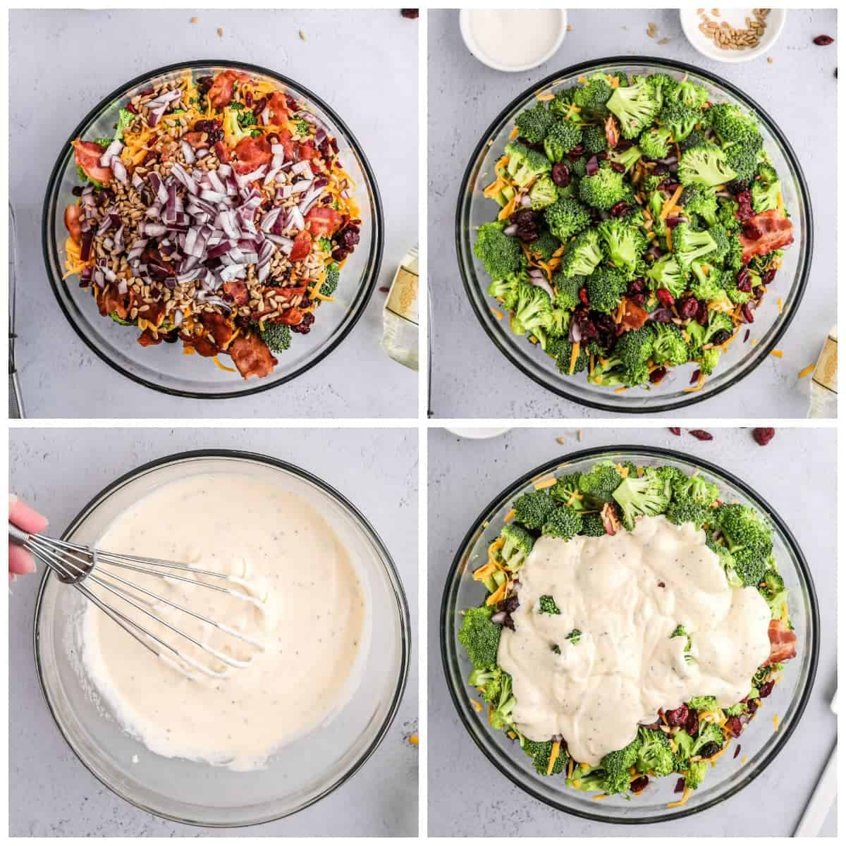 Four process photos. First one, all the dry ingredients in a large clear bowl. Second one, all the dry ingredients mixed together. Third one the dressing being whisked together in a clear bowl. Fourth one, dressing poured on top of the vegetables ina large clear bowl.