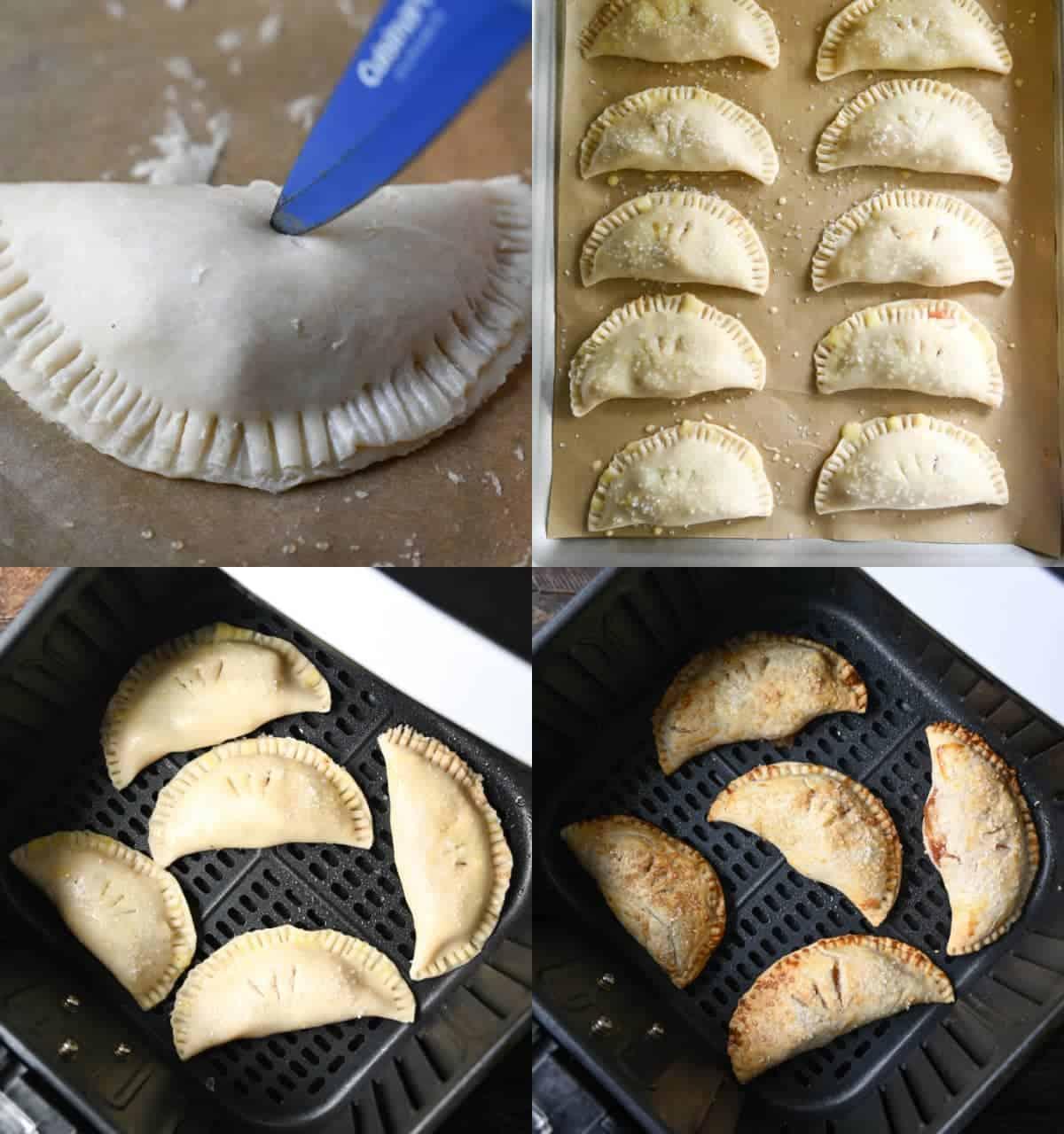 Four process photos. First one, a small blue knife making slices in the top. Second one, 10 hand pies lined up on a baking sheet. Third one, five hand pies placed in a air fryer basket. Fourth one, five hand pies all finished cooking in an air fryer basket.