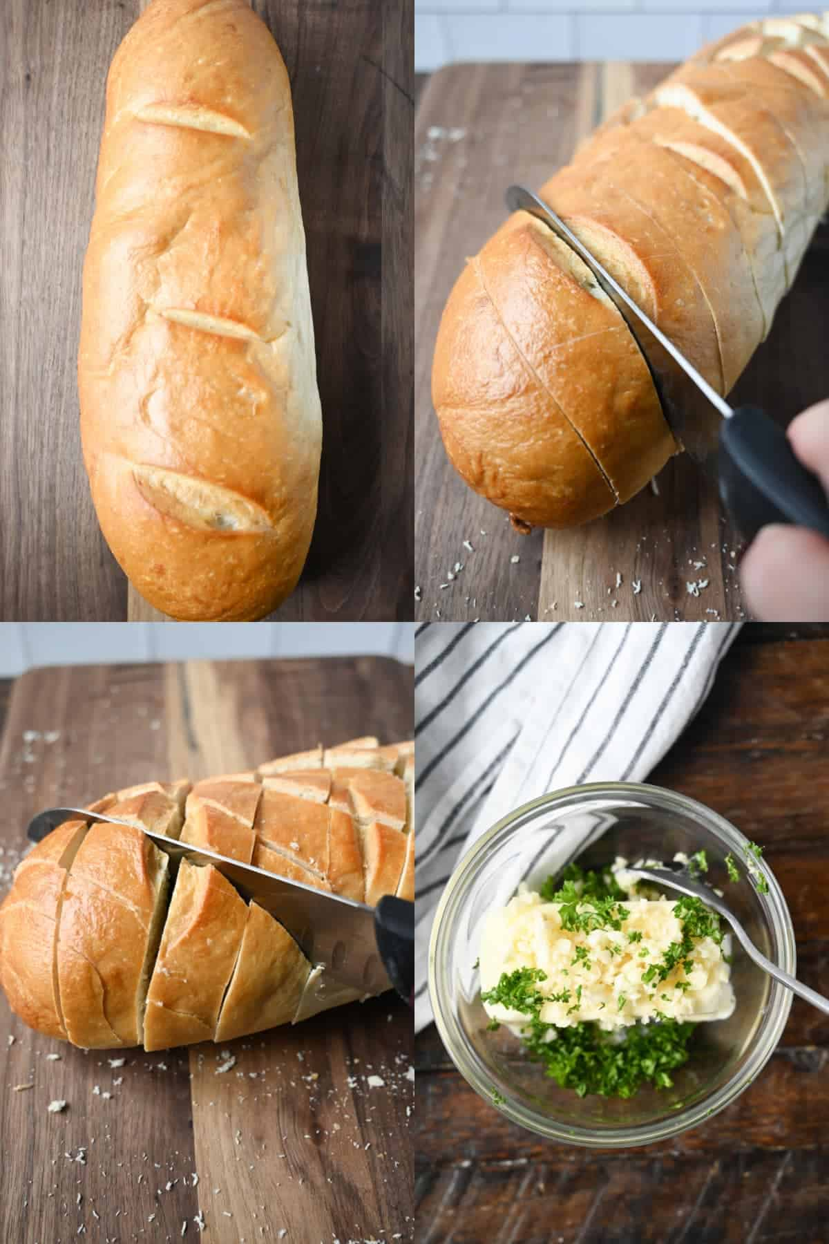 Four process photos. First one, a loaf of frenchbread on a cutting board. Second one, a sharp knif cuttin