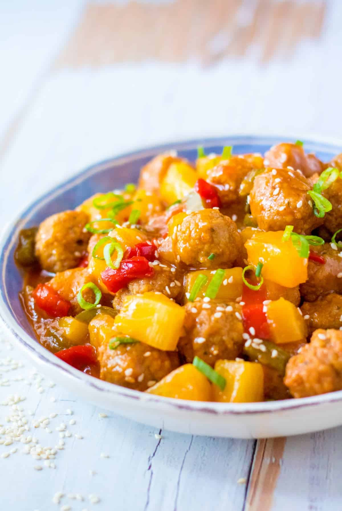Sweet and sour meatballs in a bowl.