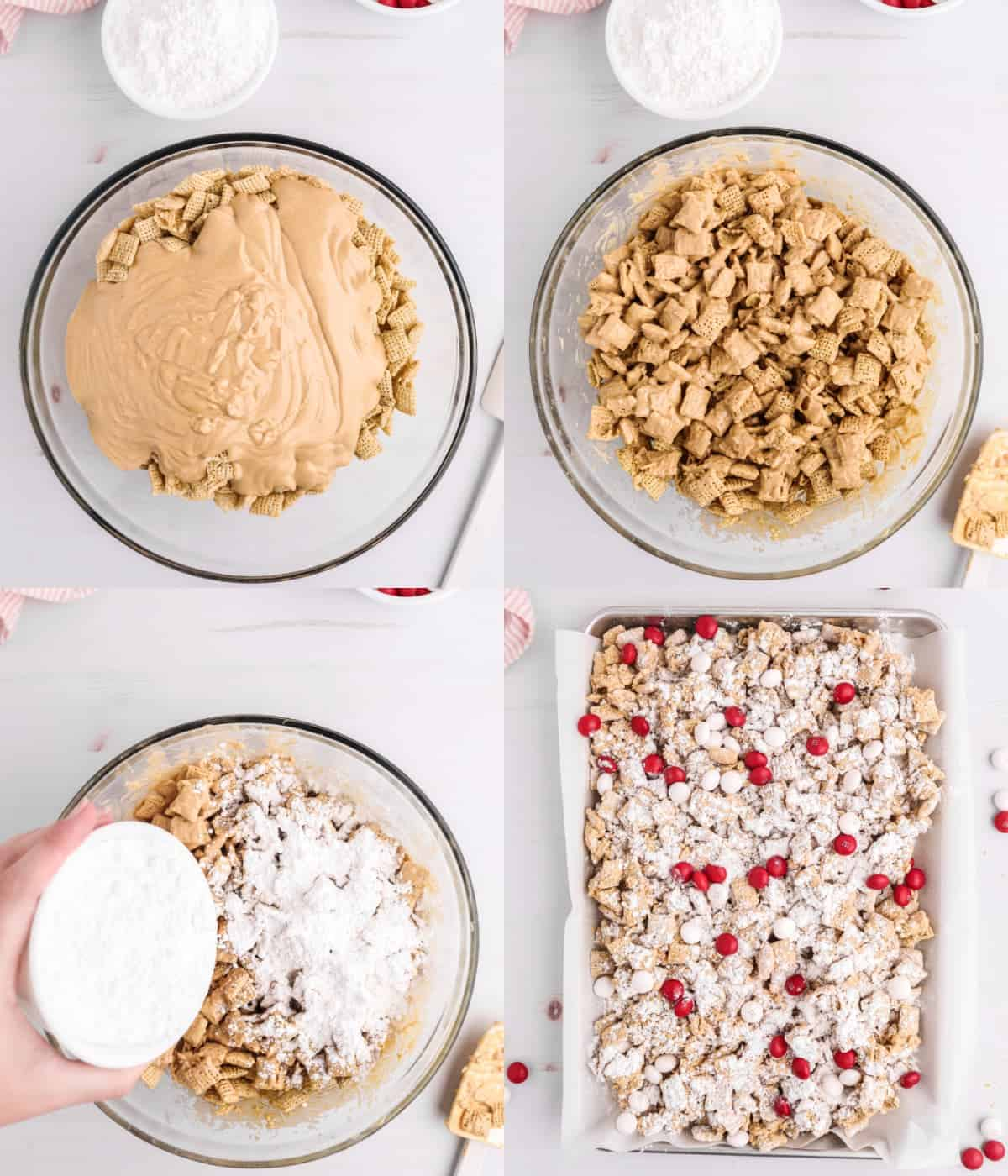 Patru fotografii ale procesului.  Mai întâi, cereale de orez cu un amestec de unt de arahide de ciocolată deasupra într-un castron mare.  În al doilea rând, totul este amestecat într-un castron.  În al treilea rând, sugerul praf a fost presărat deasupra.  În al patrulea rând, prieteni noroioși aranjați într-un vas de copt căptușit cu hârtie pergament cu M&M roșu și roz împrăștiat.