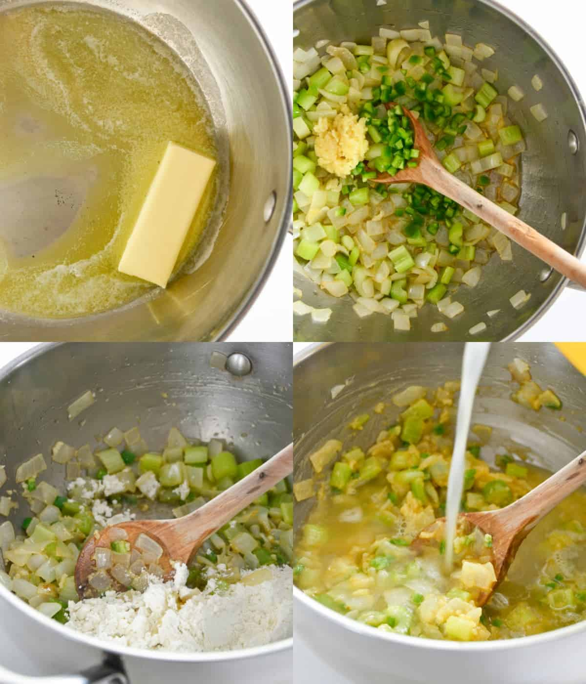 Four process photos. First one, butter melted in a pot. Second one, veggies and garlic added to the melted butter. Third one, flour sprinkled on top of the veggies. Fourth one, chicken stock being poured into the pot
