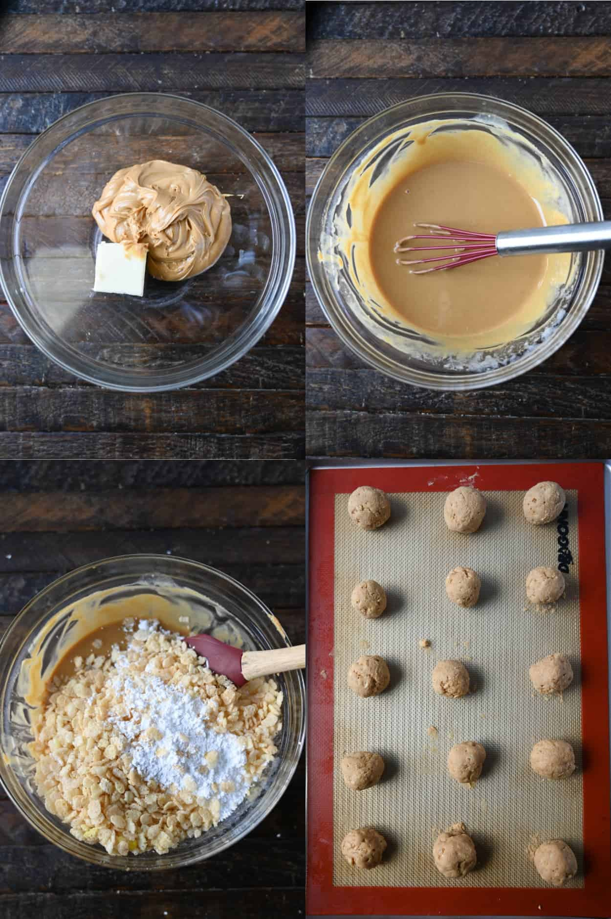 Four process photos. First one, butter and peanut butter in a bowl getting ready to be heated in the microwave. Second one, peanut butter and butter melted. Third one, rice krispies and powdered sugar poured into the melted mixture. Fourth one, rolled peanut butter balls placed on a baking sheet.