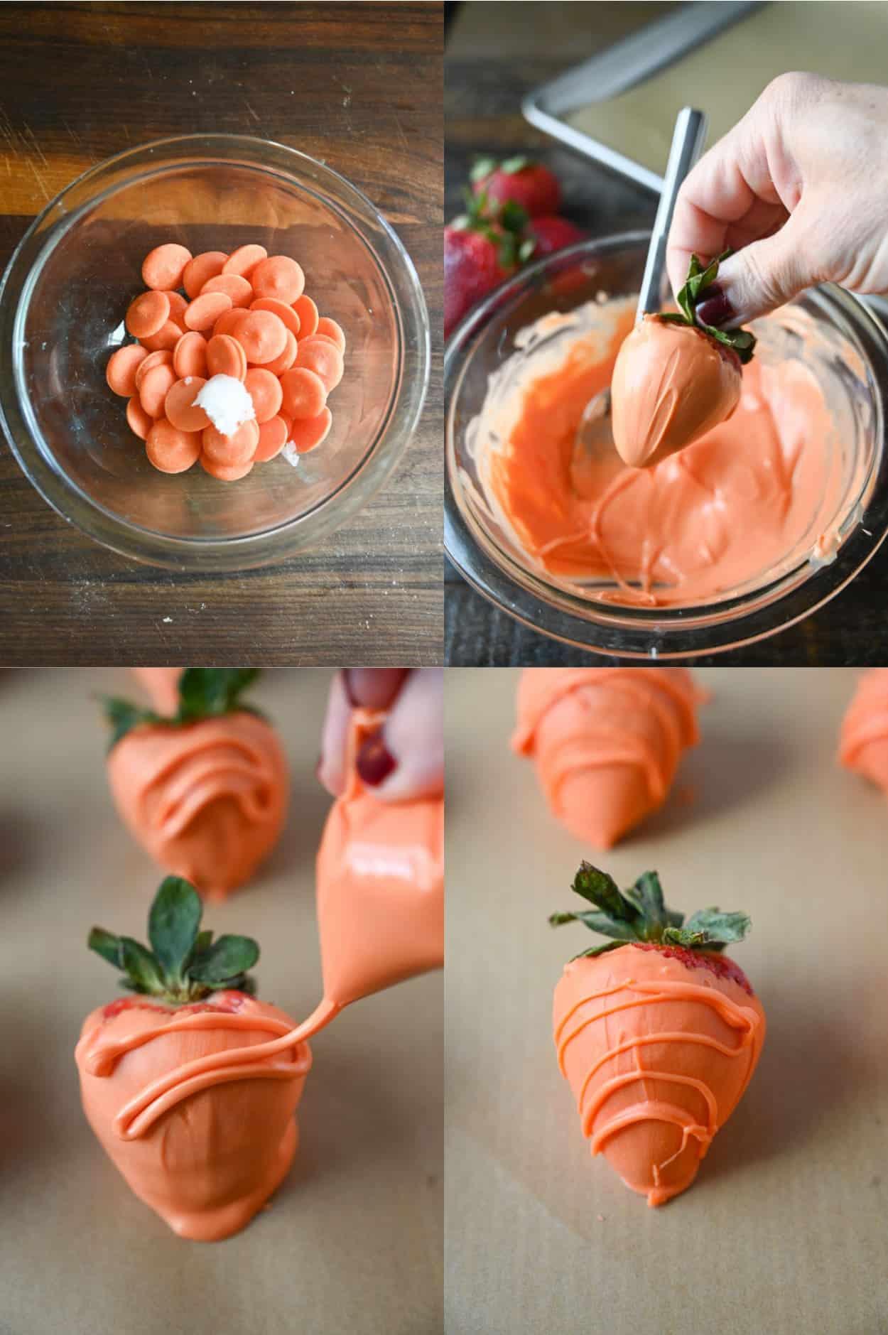 Patru fotografii ale procesului.  Mai întâi o napolitana de ciocolata portocalie si putin ulei de cocos intr-un castron pregatindu-se sa fie topit.  În al doilea rând, ciocolată de portocale topită și o căpșună înmuiată în ciocolată.  În al treilea rând, căpșuni acoperite cu ciocolată pe hârtie de copt cu o stropi de mai multă ciocolată așezată deasupra.  În al patrulea rând, o căpșună acoperită cu ciocolată care arată ca un morcov pe hârtie de copt.