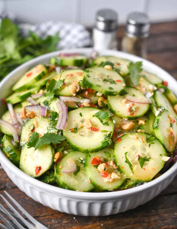 Cucumber salad in a bowl.